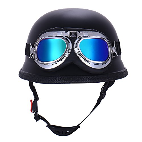 (Aneil Vintage German Style Half Open Face Motorcycle Helmet with Goggles Glasses for Men Women (Black))