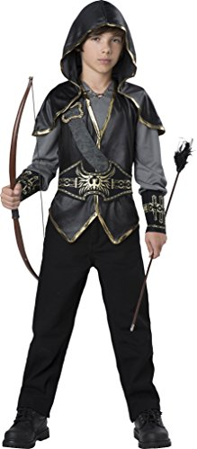 InCharacter Hooded Huntsman Costume, Black/Gray/Gold,