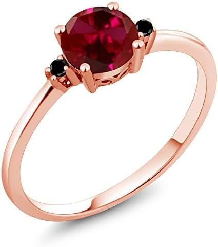 1.03 Ct Round Red Created Ruby Black Diamond 10K Rose Gold Ring