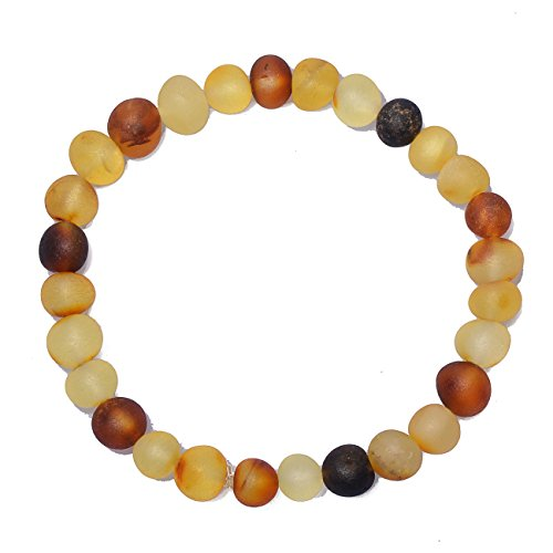 Price comparison product image Handmade Adult Genuine Amber Bracelet - Mixed color Beads - Natural not polished Amber