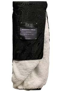 """GEO Luxury Reversible Throw Blanket Modern Simplicity 50""""x60"""" Black"""