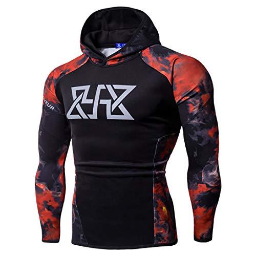 Realdo Mens Sport Sweatshirt, Fitness Long Sleeves Print Bodybuilding Skin Hoodie Tops Blouse(Large,Red) ()