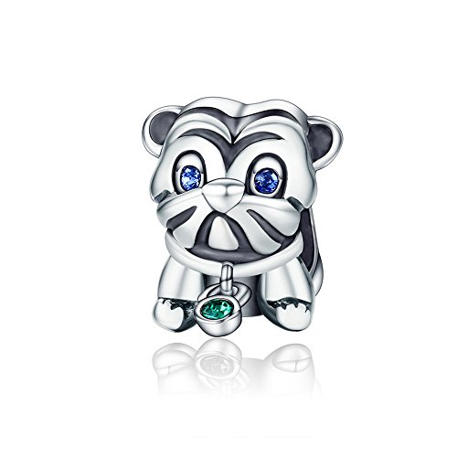 Everbling Cute Puppy Pug dog Blue/Green CZ 925 Sterling Silver Bead Fits European Charm Bracelet Green Christmas Italian Charm