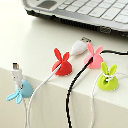 Desk Set - 4pcs Size 2.4cm 2.8cm Candy Color Solid Desk Set Lovely Rabbit Shaped Wire Clip Organizer Bobbin - Register Collections Letter White Pens Stationary Rose Sale Clear Masculine Rep Contemporary Leather Letter Opener