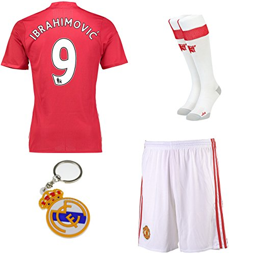 2016/2017 Manchester United #9 ibrahimovic home Kids Soccer Jersey shorts socks