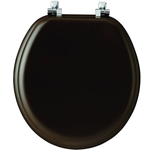 - Mayfair 9601CP 888 Natural Reflections Veneer Toilet Seat with Chrome Hinges, Round, Walnut by Mayfair