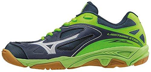 Mizuno Lightning Star Z Jnr, Zapatillas de Voleibol Unisex Niños Azul - Blue (Dress Blue/White/Green Gecko)