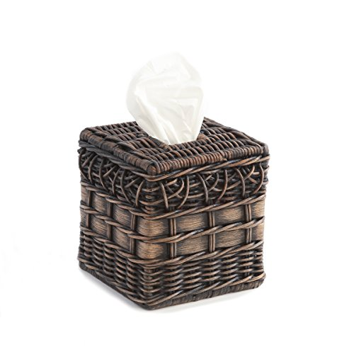 (The Basket Lady Wicker Boutique Tissue Box Cover One Size Antique Walnut Brown)