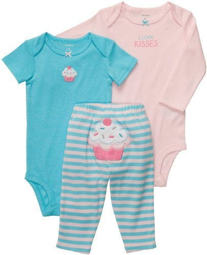Carter's Baby Girls' 3 Pc Turn Me Around Set - Turquoise/Pink Cupcake - 18 Months Size: 18 Months Color: Turquoise/Pink Cupcake Model: 831445baby-girls (Newborn, Child, Infant) (Carters Cupcake Newborn Girl)
