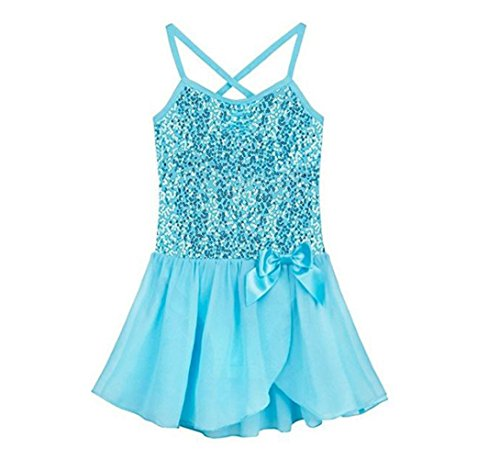 iiniim Kids Girls' Sequined Camisole Ballet Tutu Dress Ballerina Leotard Outfit Dance Wear Costumes (Sequined Blue, 2-3) -