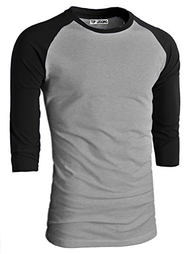 3/4 Sleeve Athletic Sport Shirt (TL Men's Basic Crew Neck Cotton 3/4 sleeve Essentail Raglan Baseball Tee Shirts LTG_BLKGRAY)
