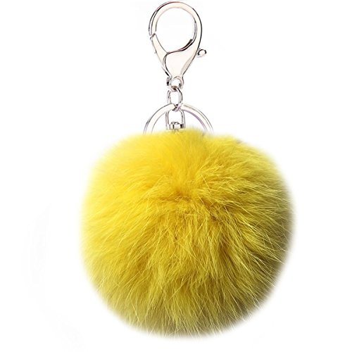 Puff Ball Pom Pom Keychain Fur Ball Keyring Cityelf Fluffy Accessories Car Bag Charm(YELLOW)