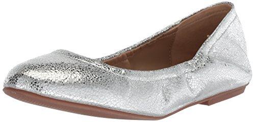 The Fix Women's Sonya Scrunch Metallic Ballet Flat, Silver/Metallic Crackle Leather, 10 B US (Flats Metallic Ballet Leather)