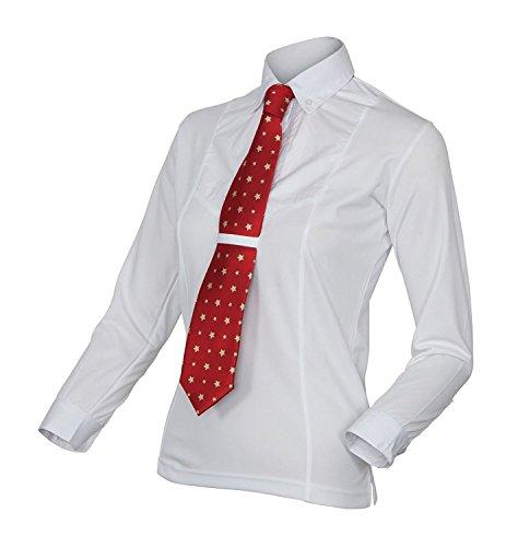 Manga Blanco Equestrian Camisa Corbata Larga Shires Damas EB74fCq