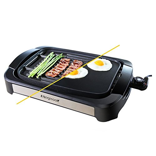 Magicook Electric Grill Griddle Non-stick Reversible 2-in-1 Plate Outdoor/Indoor Electric Camping BBQ Griddle Grill with Temperature Control (Black)