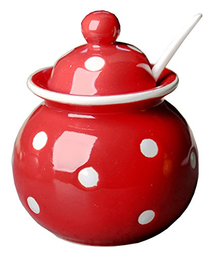 - Ceramics Dot Sugar Salt Pepper Storage Jar Seasoning Pot with Lid And Spoon