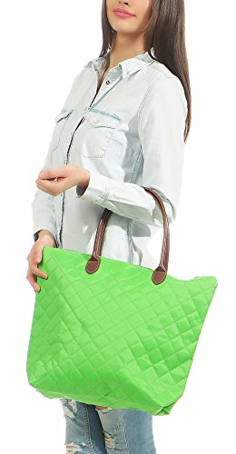 main Cartable à Moda Shopper Sac Matelassé Couleurs bandoulière Femmes Sac Vert T200 à malito PRwqtUB
