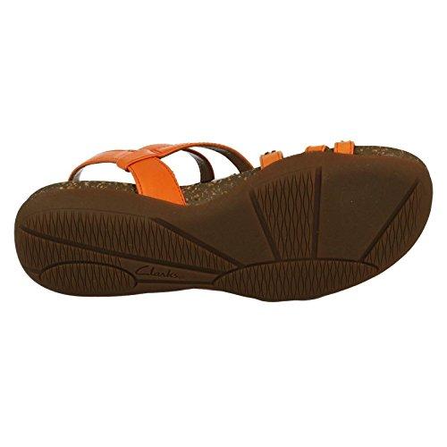 Piel Sandalias sintético Paz Otoño Clarks Color En Naranja vOqZgwnx