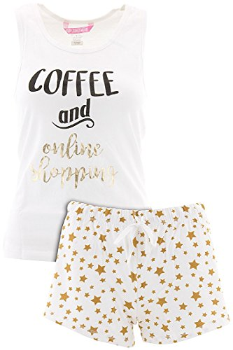 Love Loungewear Juniors Coffee and Online Shopping Shorty Pajamas - Online Junior