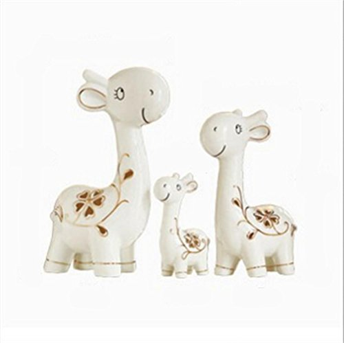 Animal Ornament Porcelain Decoration Deer ceramic crafts Art creative furnishings Ornaments Christmas Holiday gift family Matts by Thebigfish (outline in gold - Three deer)