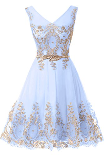 MILANO BRIDE Cheap Cocktail Dress Short Prom Party Dress Applique Belt Tulle-10-Sky Blue 2