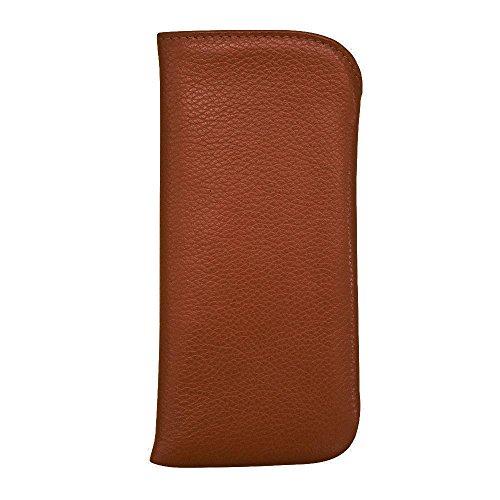 Ili Leather Small Padded Eyeglass Case for Pocket (antique saddle) (Brown Leather Eyeglass Case)