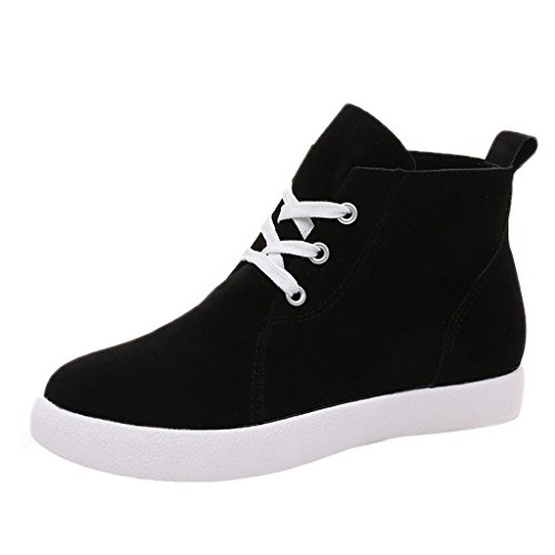 Dear Time Women Lace Up Flat Heel Ankle Boots Black ngHHHK