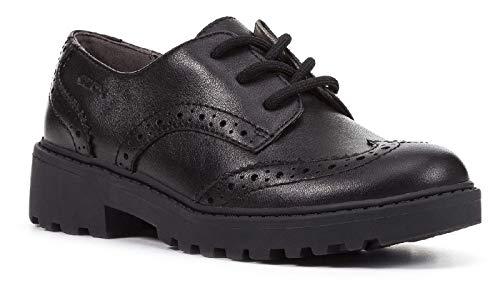 Geox Girls J Casey G. N Lace Up Leather School Shoe (2 Little Kid) (Black)
