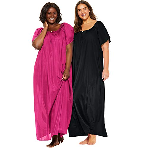 Only Necessities Women's Plus Size 2-Pack Long Nightgown Set - Raspberry Black, 1X - Long Gown Sleepwear