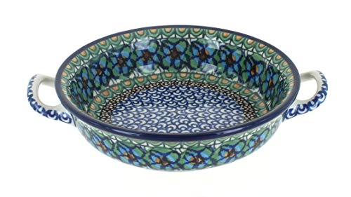 Blue Rose Polish Pottery Mardi Gras Mini Casserole Dish with - Rose C40