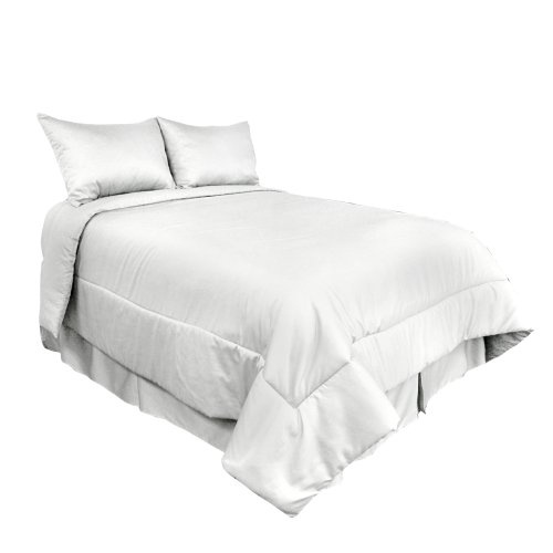 - Veratex Luxury Soft 500 Thread Count 100% Egyptian Cotton Sateen Shell Bedroom Comforter Set, Twin Size, White