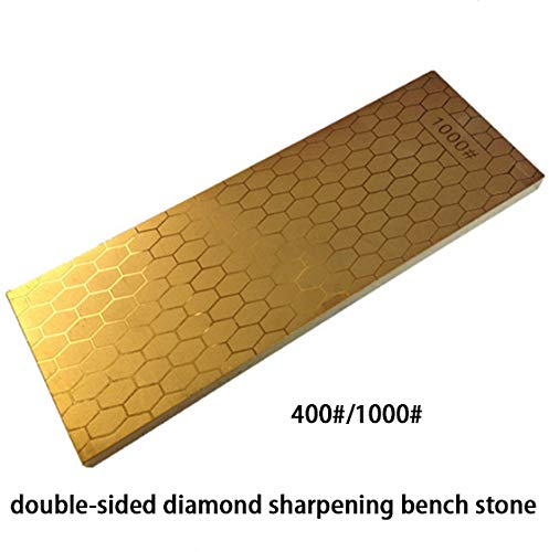 400//1000 Grit Double-Sided Diamond Sharpening Bench Stone,Diamond Credit Card Stone with Sharpening Stone Holder for Re-Profile Edges Or Repair Dull Cutting Edage