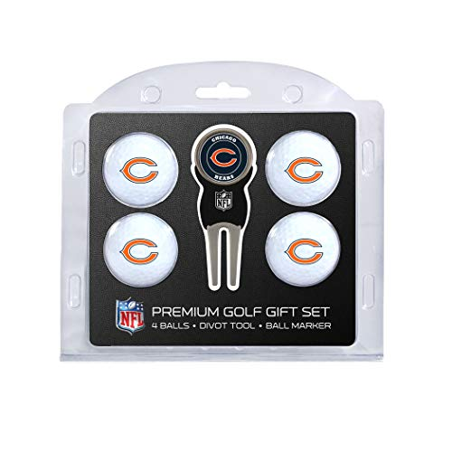 Team Golf NFL Chicago Bears Regulation Size Golf Balls (4 Count) & Divot Tool with Removable Double-Sided Magnetic Marker