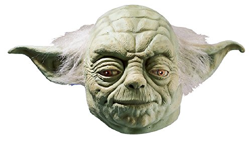 Star Wars Yoda Adult Full Latex Mask, Green, One Size (Yoda Costume Adults)