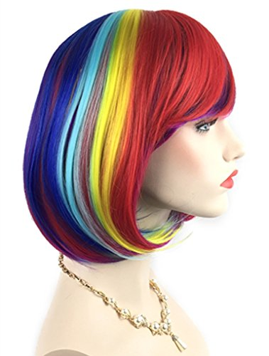 Rainbow Bob Wigs and A Wig Cap- Women's Short Straight Multi-Color Cosplay Wigs -Comfortable& Breathable& Durable-Rose Net; wig007A ()