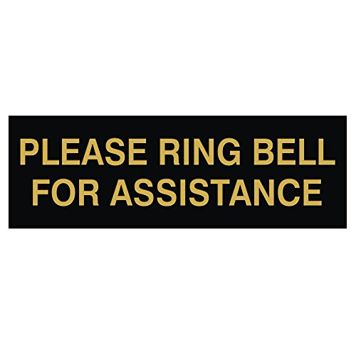 - PLEASE RING BELL FOR ASSISTANCE Sign - Black / Gold - Small