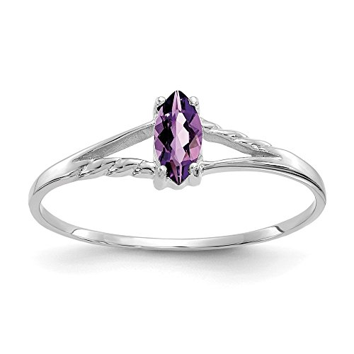 14k White Gold Purple Amethyst Birthstone Band Ring Size 7.00 Stone February Marquise Fine Jewelry Gifts For Women For Her