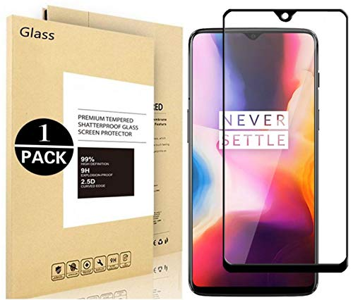 OnePlus 6T Screen Protector, Vigeer [ Full Coverage ] [0.3mm, 2.5D] [Bubble-Free] [9H Hardness] [Easy Installation] [HD Clear] Tempered Glass Screen Protector for OnePlus 6T