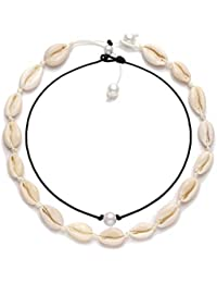 Cowrie Shell Choker Necklace for Women Hawaiian Seashell Pearls Choker Necklace Statement Adjustable Cord Necklace Set