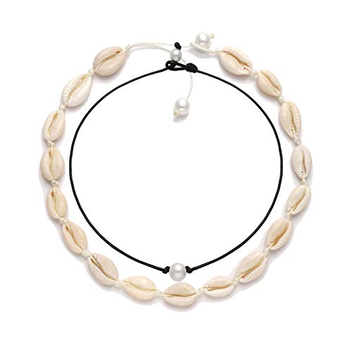 VUJANTIRY Cowrie Shell Choker Necklace for Women Hawaiian Seashell Pearls Choker Necklace Statement Adjustable Cord Necklace Set (Shell&Pearls Choker -