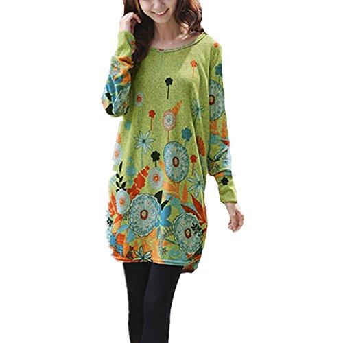 Pullover Mujer Otoño Verde Camisa Maxi Vestidos Blusa Redondo Minetom Cuello Invierno Manga Suelto Larga F1dwx5vqn