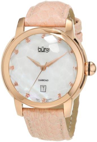 Burgi Women's BU14P Round Swiss Quartz Diamond Date Strap Watch