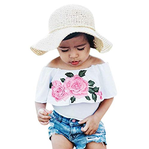 Xturfuo 2Piece Toddler Baby Kids Girl Off Shoulder Outfits Set,Floral Print Strapless T-Shirt Ripped Denim Shorts (80-120) (6-12 Months, White)