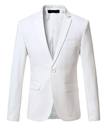 Un Mogu Hommes À Occasionnel Blanc Blazer Bouton wISIqn0x