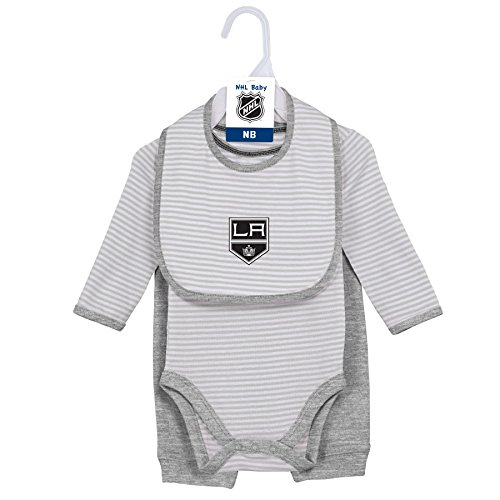 NHL Los Angeles Kings Layette Newborn Interception Onesie, Bib & Pant Set, 3-6 Months, Cool Grey