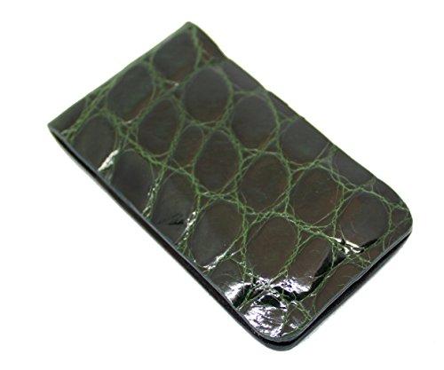 Magnetic Money Clip Genuine Alligator Wallets Collection Slim Front Pocket Minimalist Wallet (Green)