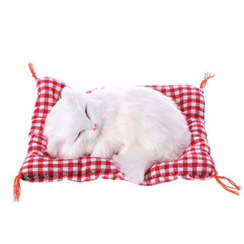 (ONcemoRE Press Simulation Sound Animal Doll, Plush Stuffed Toy Cute Sleeping Cat for Kids Children - White)