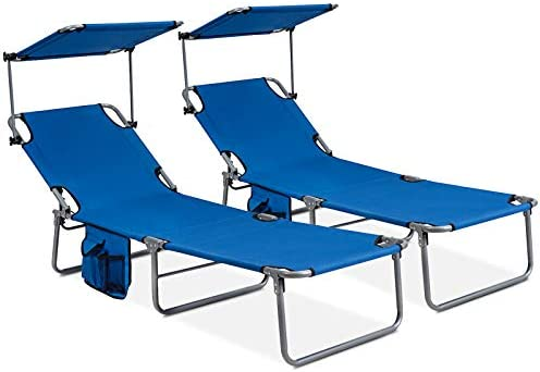 GYMAX Folding Chaise Longue