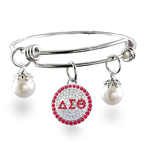 justable Stainless Steel Delta Sigma Theta Sorority Charm DST Expandable Bangle ()