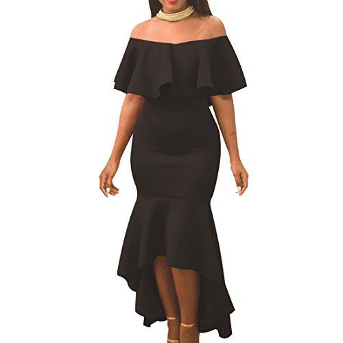 Women' Sexy Off Shoulder Ruffle Party Mermaid Elegant Midi Long Dress (Medium, Black)